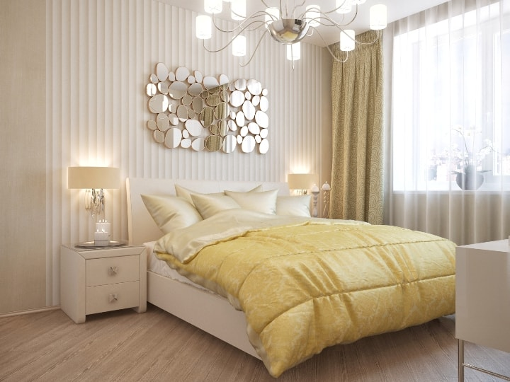 Светлое оформление спальни