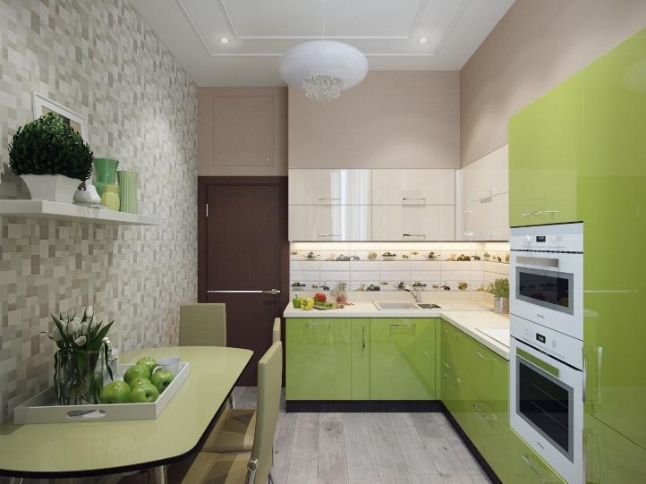 Обои для зеленой кухни