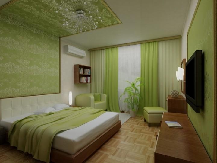 Зеленый интерьер спальни