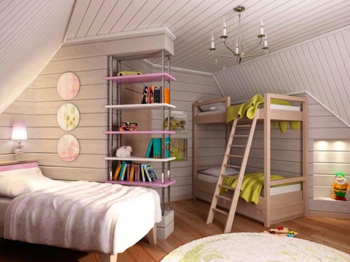 Деревянный потолок в детской комнате