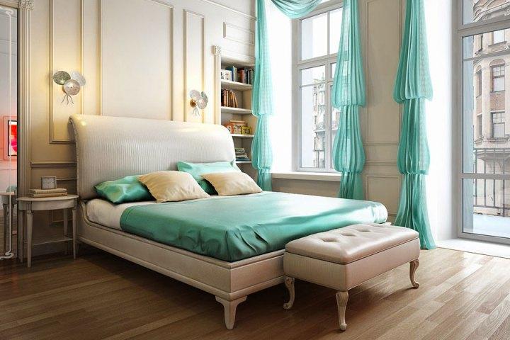 Шторы епископские рукава в спальне