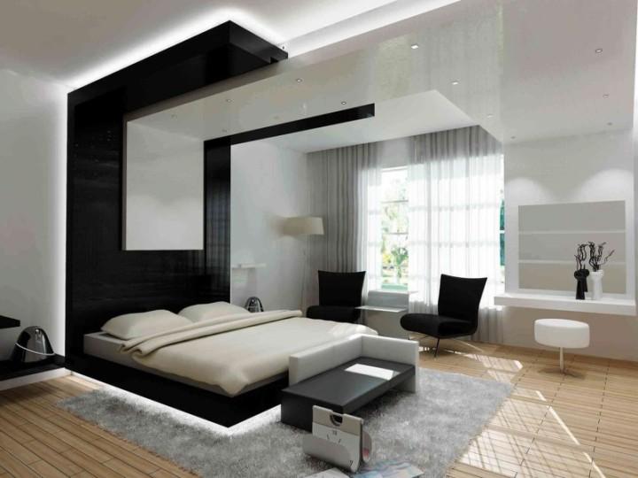 Монохромный дизайн спальни