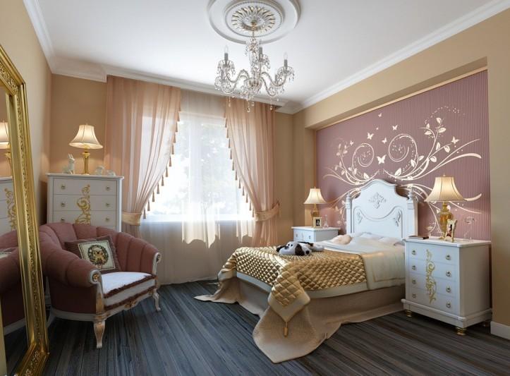 Нежные персиковые шторы в спальне