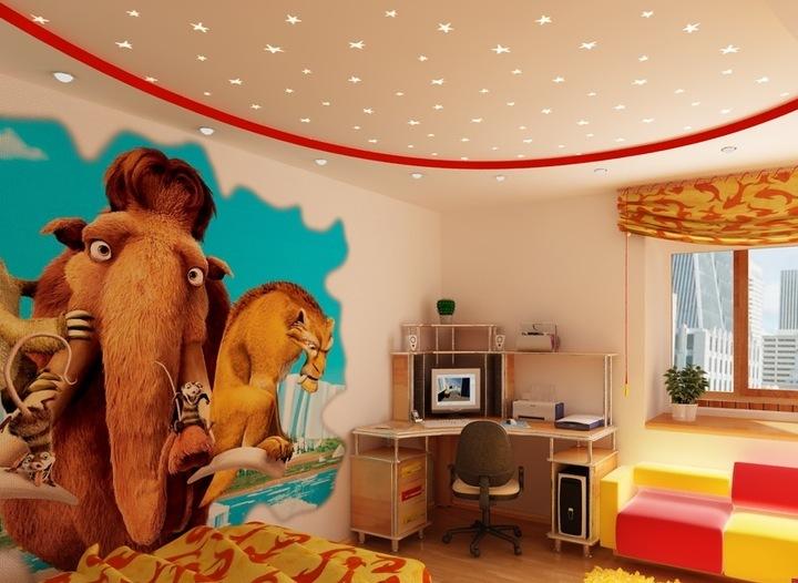 Окрашенный потолок в детской комнате