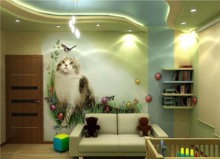 Потолок из гипсокартона в детской комнате (116 фото подвесной)
