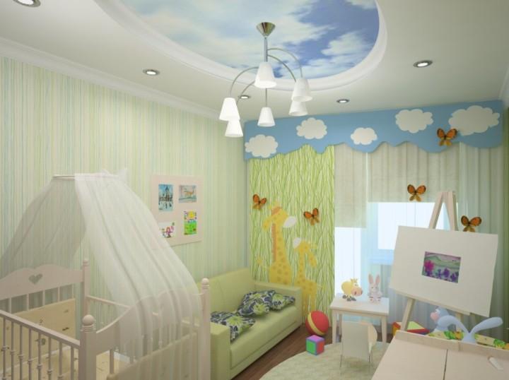 Потолок в детской комнате в виде облаков на небе