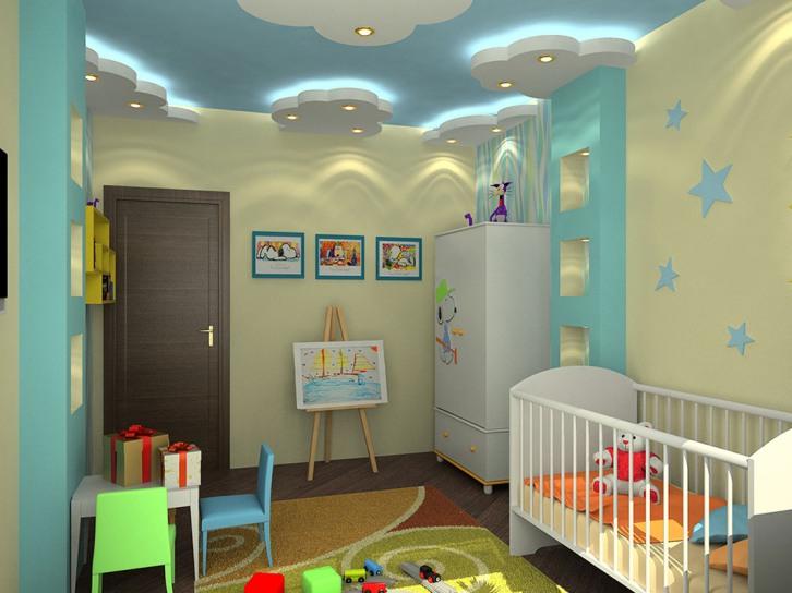 Потолок из гипсокартона в детской комнате (116 фото подвесной) 52