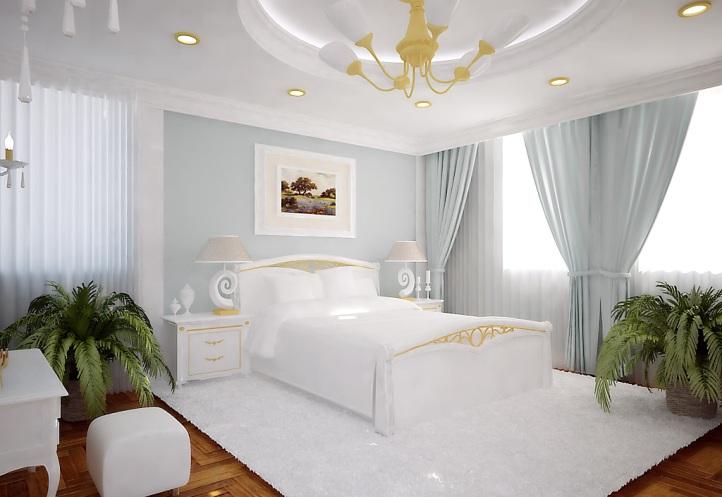 Серебристые шторы в спальне