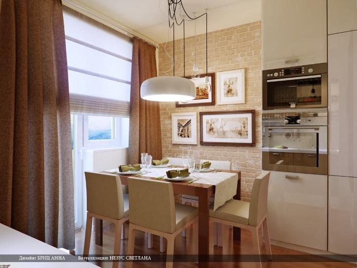 Фотографии на стенах кухни