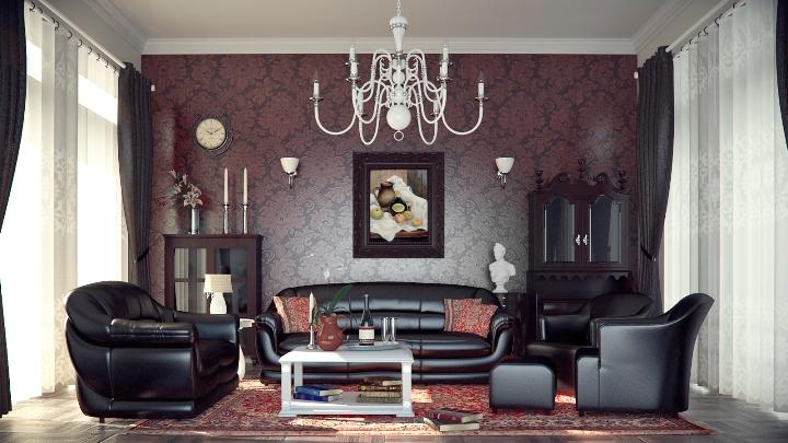 Интерьер зала в стиле готика