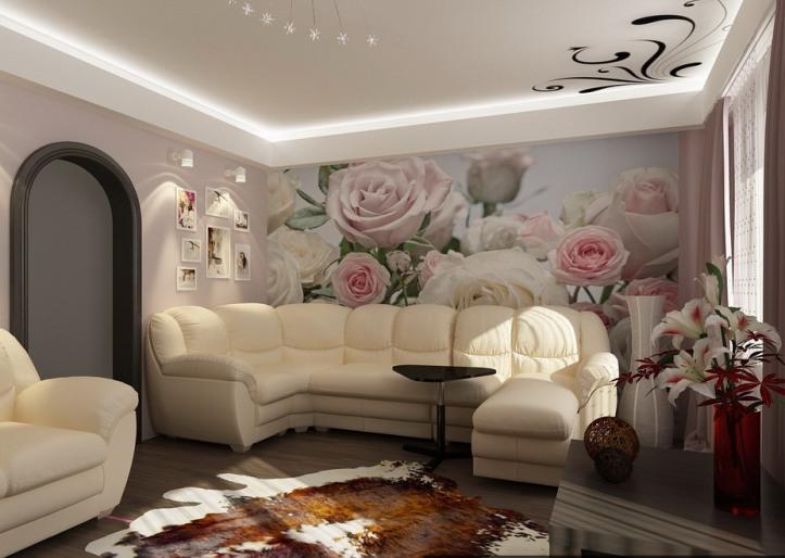 Фотообои с розами в зале