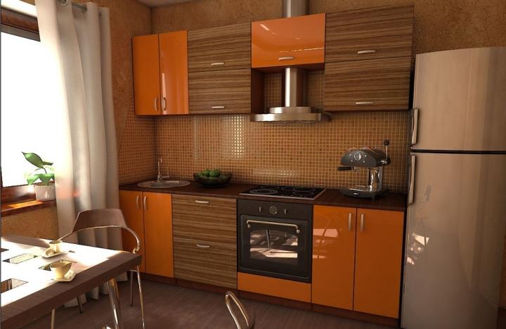 Комбинированные фасады кухонного гарнитура: зебрано, оранжевый