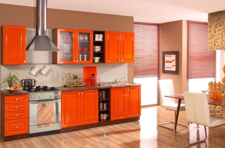 Фото интерьера оранжевой кухни