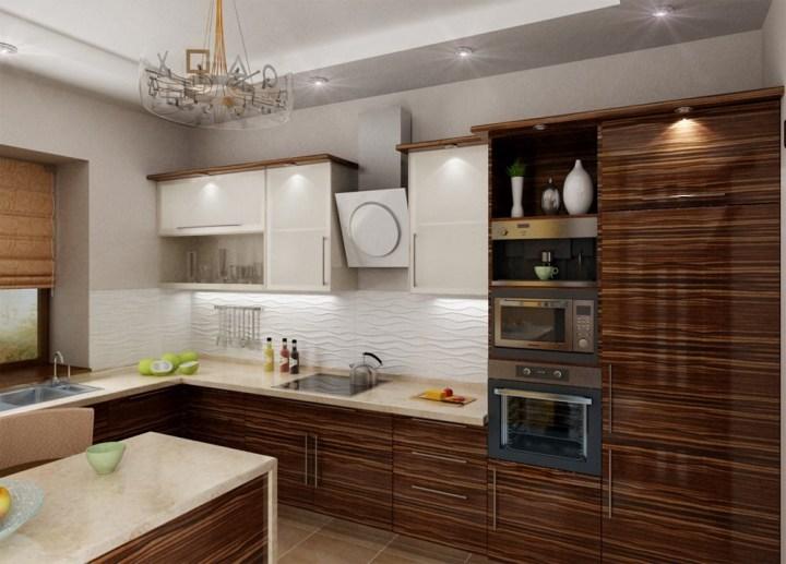 Почти классический интерьер кухни зебрано