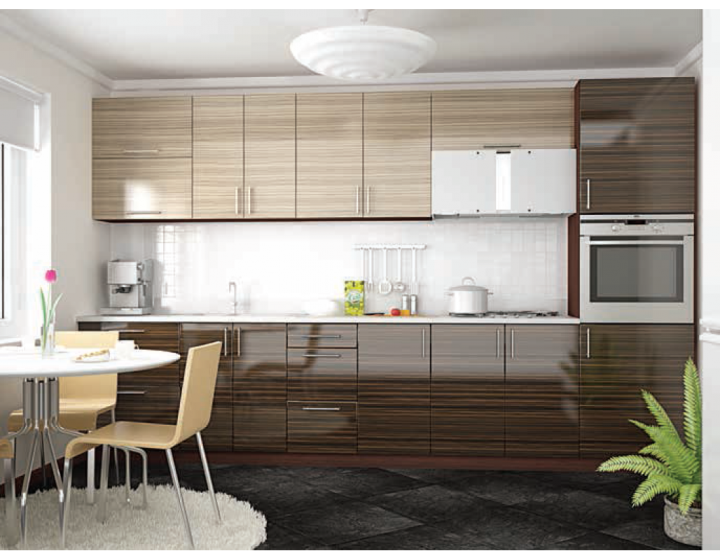 Лаконичная полосатая кухня