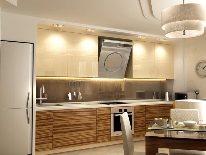 Бежево-полосатая кухня зебрано