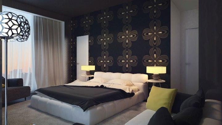 Аксессуары в черно-белом интерьере просторной спальни