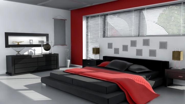 Черно-бело-красная спальня
