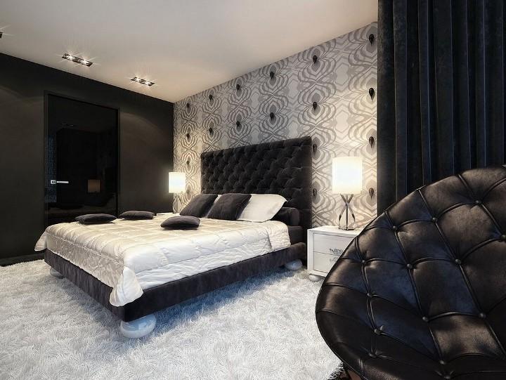 Черно-белый орнамент в спальне