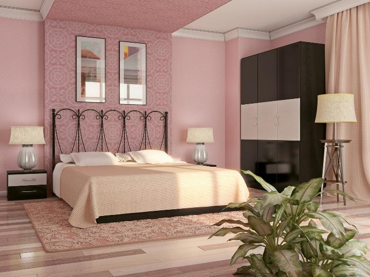 Розовая спальня с черной мебелью