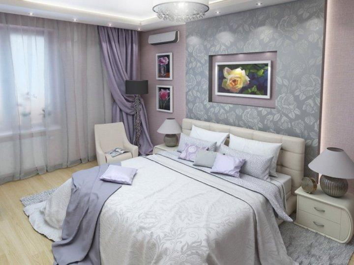 Красивая серая спальня