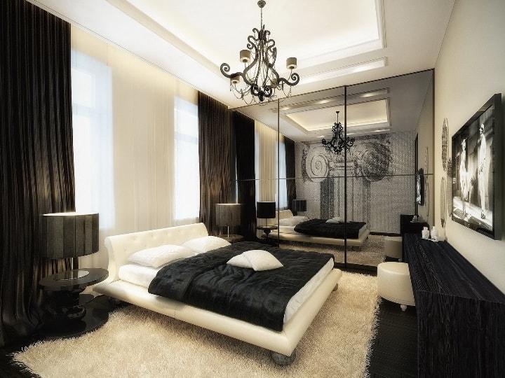 Черно-белая мебель в спальне
