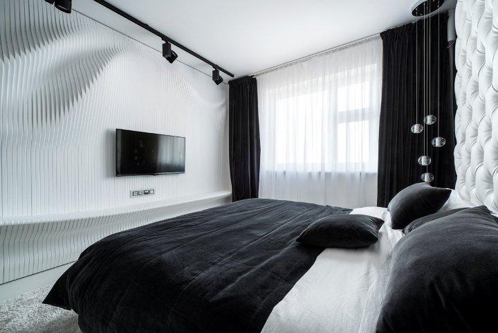 Современная черно-белая спальня