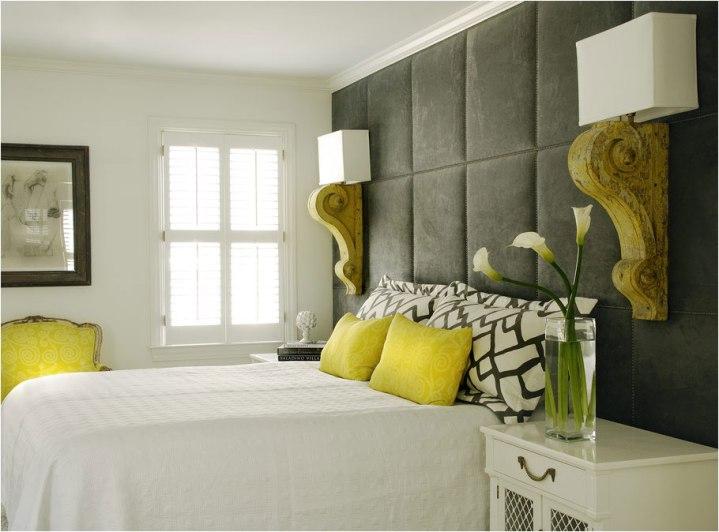 Салатово-серый интерьер спальни
