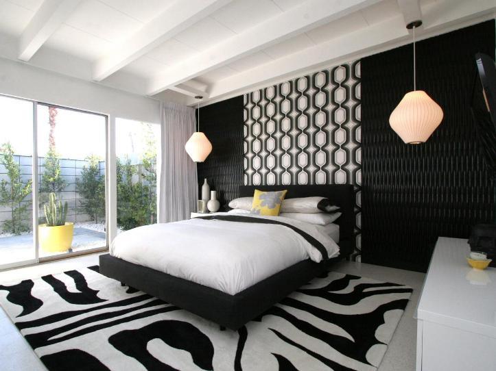 Спальня в черно-белом цвете