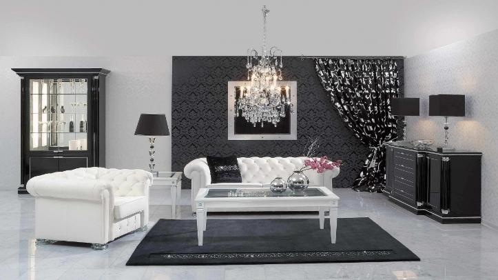Стильная черная мебель в интерьере