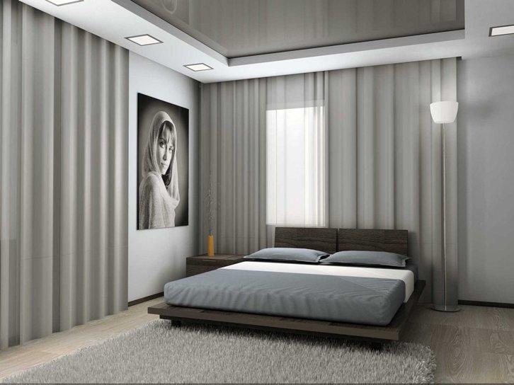 Светло серый интерьер спальни