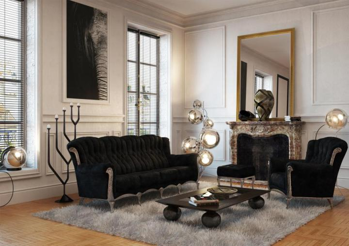 Черная мебель и белые стены