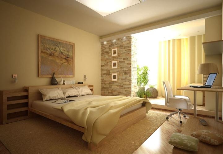 Теплый свет в интерьере спальни