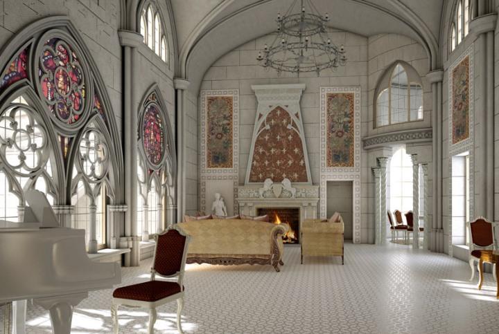 Белый интерьер в готическом стиле