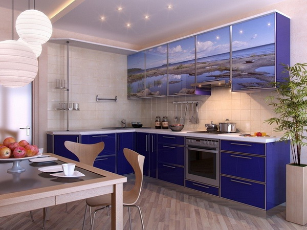 Modern kitchen. Interior design idea. Computer graphic rendering. Blue Kitchen