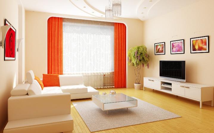 Оранжевые шторы в интерьере
