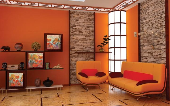 Оранжевый интерьер в японском стиле