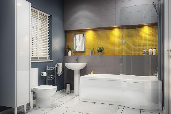 Серая ванная комната в стиле хай-тек