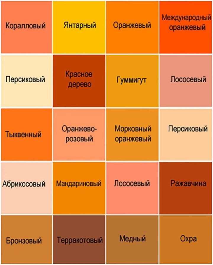 Оттенки оранжевого цвета и их названия