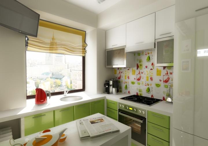 Г-образная кухня 9 квадратов