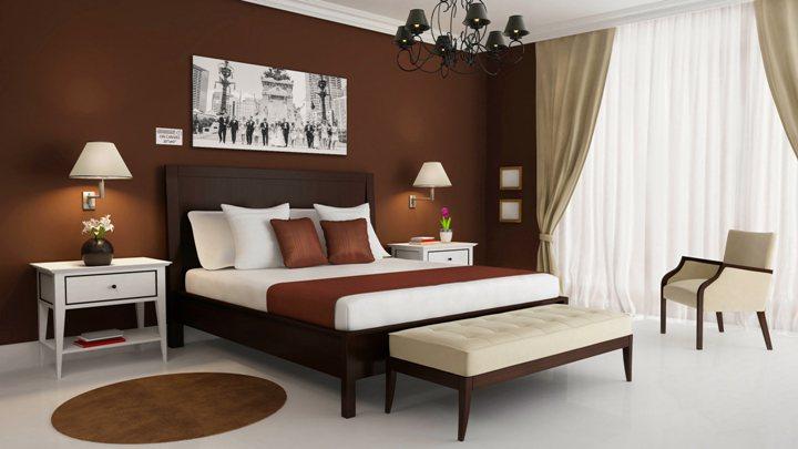 Спальня в коричневых тонах