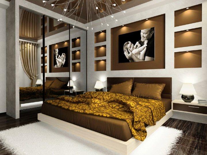 Современная коричневая спальня