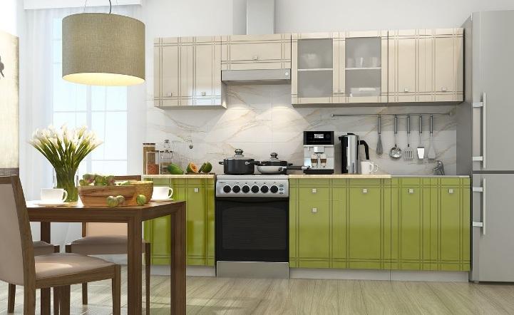 Большая кухня оливкового цвета