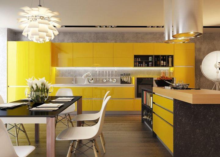 Просторная желтая кухня