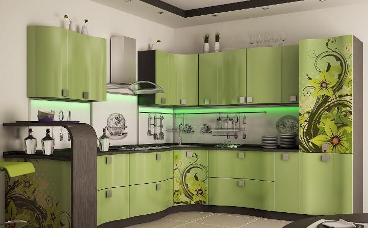 Кухня фисташкового цвета в стиле хай-тек