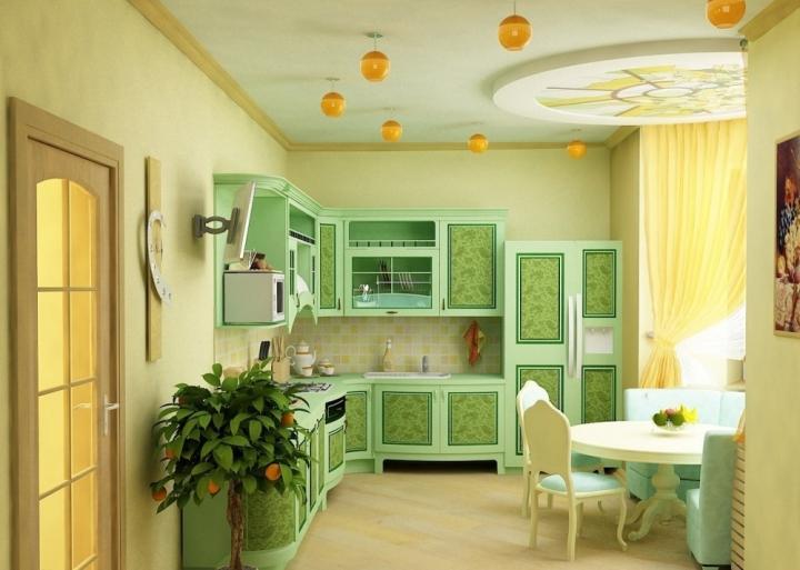 Красивая фисташковая кухня