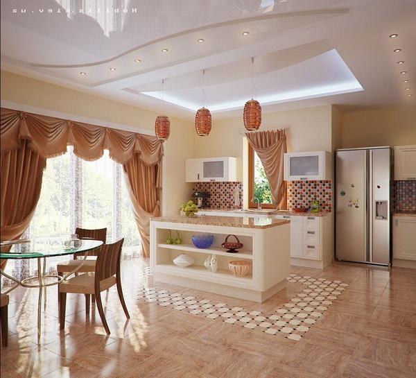 Зал с кухней дизайн в доме