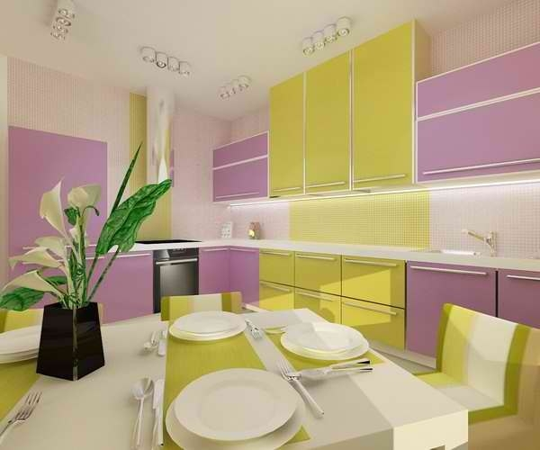 Сочетание цветов фиолетовый в интерьере кухни