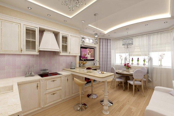 Интерьер кухни с эркером в стиле неоклассика