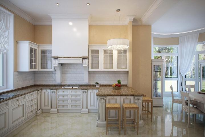 Фото интерьеров кухни в загородном доме